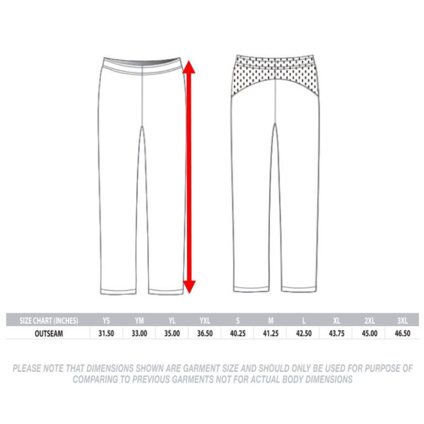 Warm Up Pants Sizing Chart