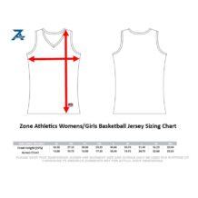 Zone Athletics Womens Girls Basketball Jersey Sizing Chart